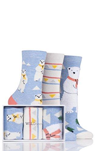 Ladies 3 Pair SockShop Wild Feet Polar Bear Cotton Socks In Gift Box - Assorted 6-10 (Fur Feet Polar Bear)
