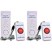 Secure SWCB-1S (2-PACK) Wireless Slimline Pager Call Button Nurse Alert System - Patient Help Button and Caregiver Receiver - 500+ Ft Range