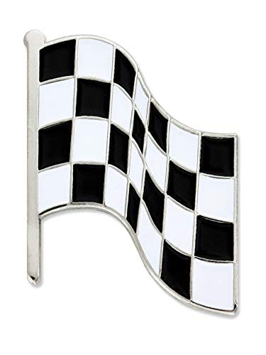 PinMart Black and White Checkered Racing Flag Enamel Lapel Pin