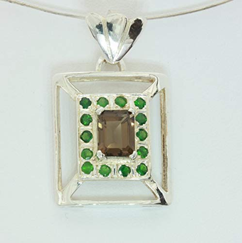 Smoky Green Quartz Necklace (Smoky Quartz Tsavorite Green Garnet Rectangle Halo Sterling Pendant Design 237)