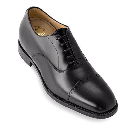 Masaltos Scarpe con Rialzo da Uomo Che Aumentano l'Altezza Fino a 7 cm. Fabbricate in Pelle. Modello Denver Nero