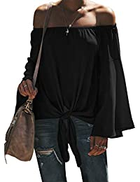 Womens Fall Off The Shoulder Tops Solid Bell Long Sleeve Tie Knot Loose Tops and Blouses