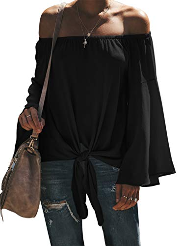Asvivid Womens Casual Kimono Bell Sleeve Off The Shoulder Shirt Tie Knot Fashion Loose Club Tunic Tops L Black