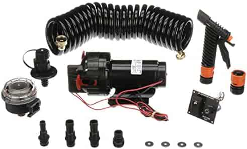Seachoice 17841 Wash Down System Pump Kit – with Hose, Bulk Head Fitting, Inlet Strainer, Spray Nozzle, 2-Way Panel Switches