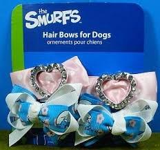 smurf-rhinestone-dog-hair-bows