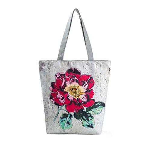 Logobeing Mujer Bolsos Tote Lienzo Impreso de Viento Nacional Bolsas de Playa Casual Bolsos de Mujer Bolso de Compras Shopers Bags D