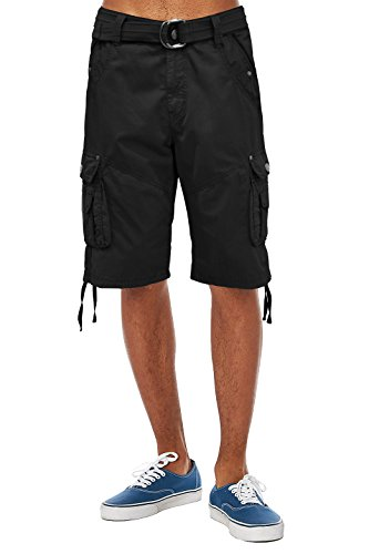ETHANOL Mens Everyday Belted Cargo Shorts ASH44088 Black 36 ()