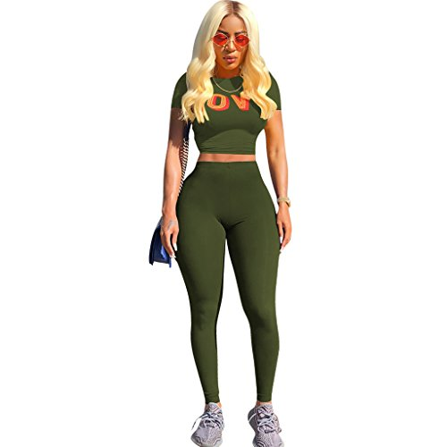 Mojessy Women's 2 Piece Outfits Short Sleeve Crop Top Shirt + Skinny Pants Set Clubwear Medium Army Green by Mojessy (Image #1)