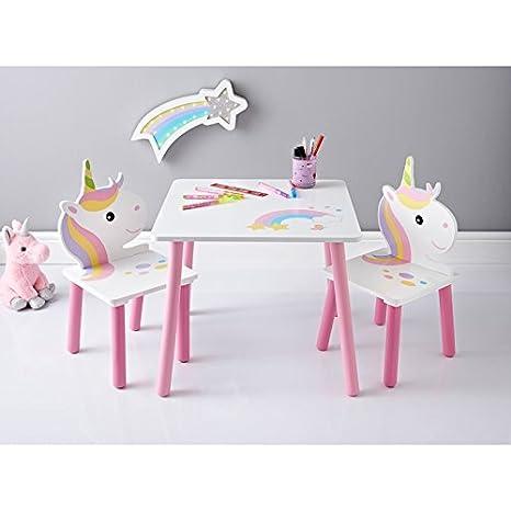 Amazing Unicorn - Juego de sillas de mesa de madera para niños, color rosa y blanco: Amazon.es: Hogar