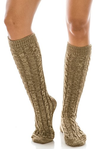 Marled Cable Knit Extra Long Boot Socks, Warm Winter Knitted Leg Warmers (Marled Beige) (Cable Marled)