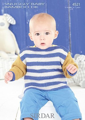 (Sirdar Snuggly Baby Bamboo DK Knitting Pattern - 4521 Baby's and Boy's Sweaters by Sirdar)