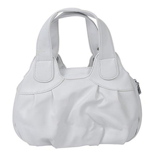 TOOGOO(R) Adatti la borsa di cuoio delle donne PU Bag Tote Bag Borse di stampa Satchel -Dream cartamo + Handstrap bianco Bianco opaco