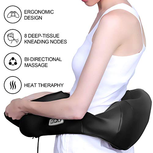 NURSAL Neck Massager with Heat, Hand Vibration Therapy and Shiatsu 3D Kneading Massage to Relieve Muscle Pain, Targets Upper - Lower Back, Shoulder and Legs for Home and Office Use