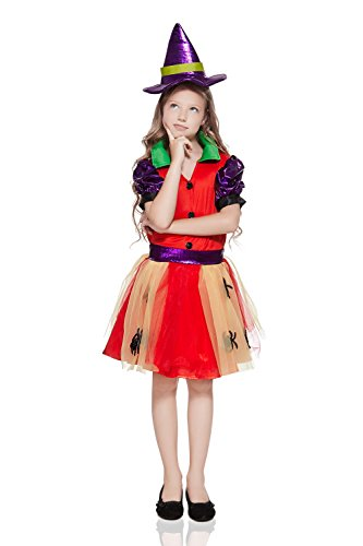 Wendy The Witch Costume (Kids Girls Spider Witch Halloween Costume Rainbow Spiderella Dress Up & Role Play (3-6 years, red, purple, yellow))