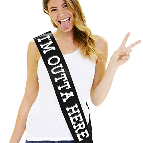 Going Away, Graduation, Retirement Sash - I'm Outta Here! Satin Sash in Black - Party Supplies & Decorations Sash(Outta Here) Blk ()
