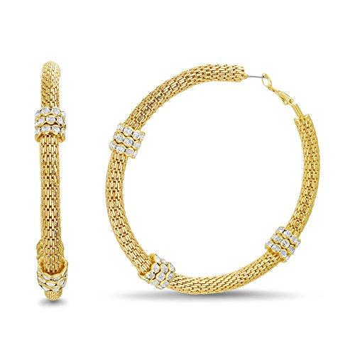Catherine Malandrino Rhinestone Textured Mesh Yellow Gold-Tone Hoop Earrings for Women