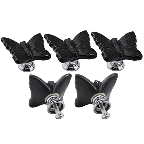 Ltvystore 5PCS Black Ceramic Butterfly Cabinet Knobs,Drawer Pulls Handles Set,Ceramic Butterfly Shape Knobs for Door Dresser Drawer Cupboard Baby Kid's Children's Furniture with Screws