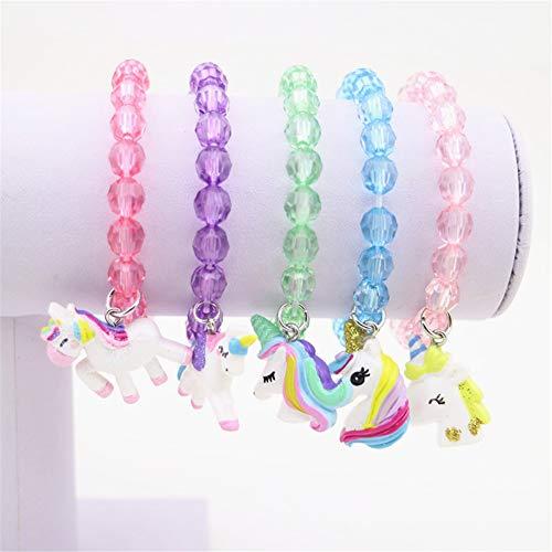 (5pc Colorful Unicorn Bracelet, Little Girl Animal Bracelets, Teens Kids Owl Pendant Beaded Bracelet Girl Party Favor Pretend Play)