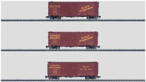 - Marklin HO Union Pacific Double-Door Boxcar Set