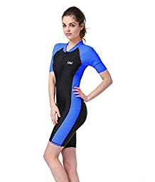 BIKMAN One-piece Snorkeling Surfing Swim Suit Short Sleeves Plus Size Swimwear- Sun Protection (M(weight:115.5lbs-137.5lbs), blue)