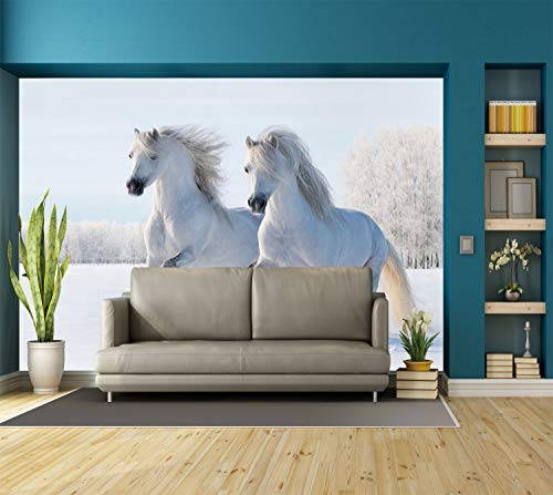 Large Wall Mural Sticker [ Horse Decor,Two White Stallions Gallop on Snow Field Natural Landscape Winter Trees,White Baby Blue ] Self-adhesive Vinyl Wallpaper / Removable Modern Decorating Wall Art