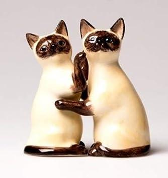 Bonito juego de salero y pimentero de gatos siameses de cerámica, ideal para regalar a amantes de los gatos.: Amazon.es: Hogar