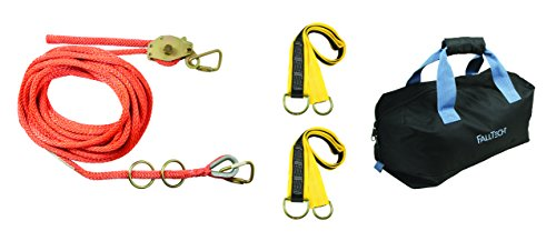 FallTech 770001 2 Person Horizontal Lifeline Kit- Rope, Line Tensioner, 2 Each: Carabiners, O-Rings and Pass-Through Anchors, with Storage Bag, 100', Orange by FallTech