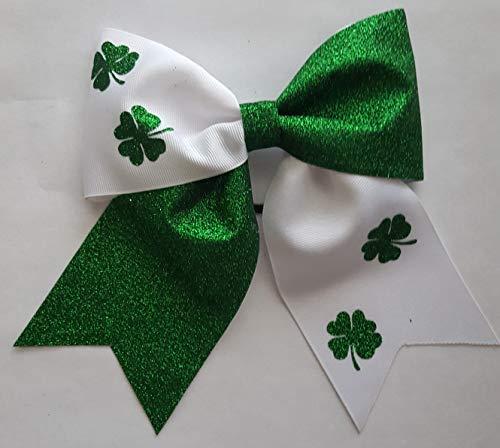 (Green and White Glitter Shamrock Hair Bow)