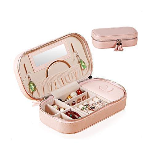 HUATK Travel Tassel Jewelry Box - Organizer Small Jewelry Case for Earrings Rings Necklaces Holder Jewelry Boxes Storage Bag with Mirror for Women Girls (Large Pink) 4.5' High Jewelry Box