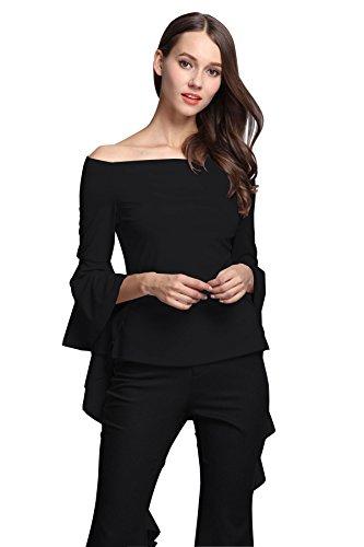 Las mujeres apagado hombro Blusas Casual Crop Tops de manga larga para Negro