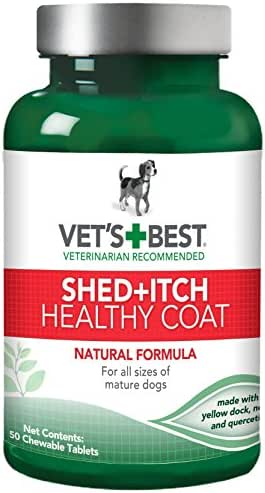 Vet's Best Healthy Coat Shed & Itch Relief Dog Supplements | Relieve Dogs Skin Irritation and Shedding Due to Seasonal Allergies or Dermatitis | 50 Chewable Tablets