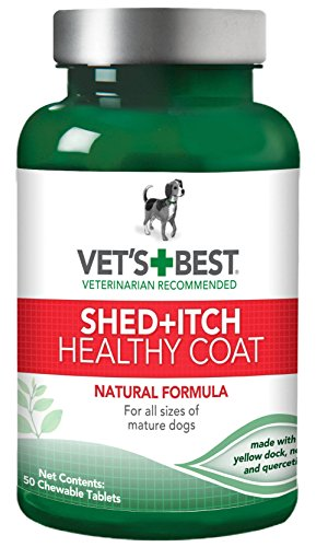 Vet's Best Healthy Coat Shed & Itch Relief Dog Supplements | Relieve Dogs Skin Irritation and Shedding Due to Seasonal Allergies or Dermatitis | 50 Chewable Tablets (Best Dog Food For Shedding Problems)