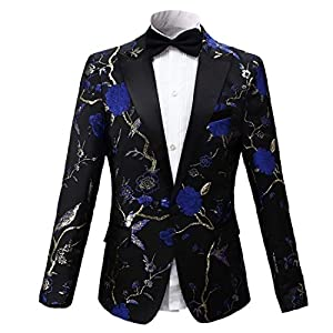 PYJTRL Mens Luxuriant Embroidery Woodpecker Pattern Blazer Fashion Suit Jacket