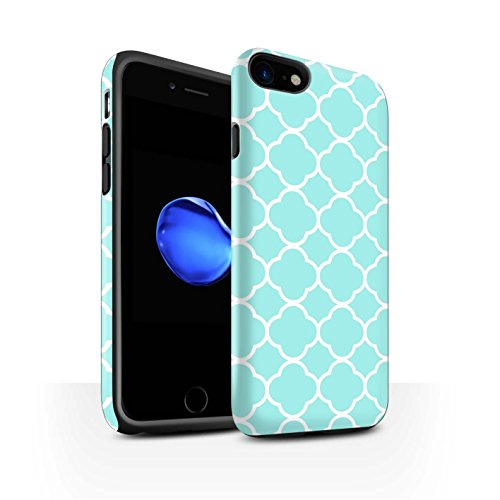 (STUFF4 Matte Tough Shock Proof Phone Case for Apple iPhone 7 / Aqua Quatrefoil Design / Winter Fashion Collection)