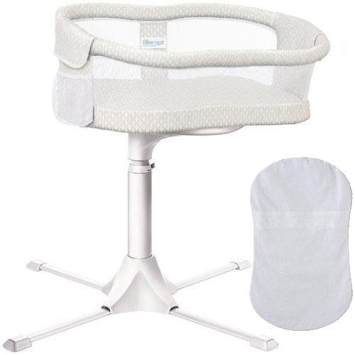 Halo - Swivel Sleeper Bassinet - Essentia Series with 100 Cotton Fitted Sheet - Honeycomb