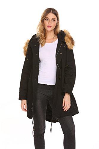 Casual Fourrure À hiver Grande Manches Manteau Avec Longues Fausse Aimado Doublée Femme Veste Capuche Automne Noir Taille Parka qxCzAIwz