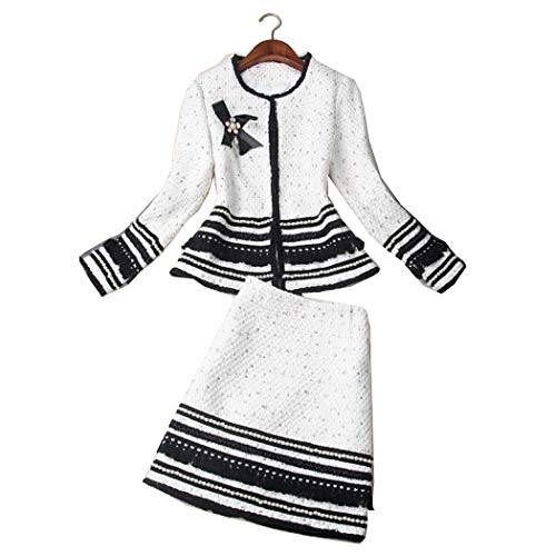 Tweed Skirt Set - 2019 Fall Winter Women New Beaded Bow Tweed Tassels Short Skirt Suits Two Piece Set White