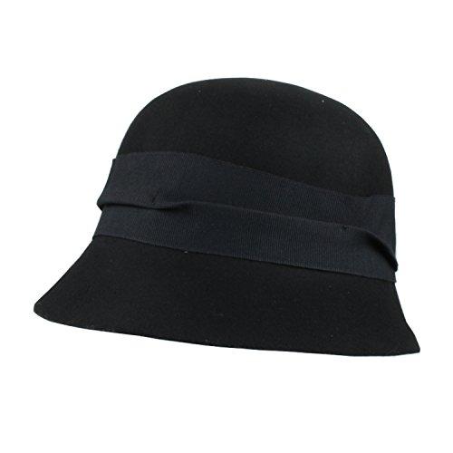 Style Black Hat (FLH Black Vintage Style Wool Cloche Hat w/Ribbon Trim, Classic Equestrian Cap)
