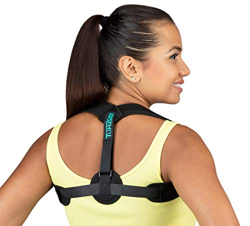 Tumzon Back Posture Corrector and Clavicle Brace w/ Exercise Loop Bands Set (Men and Women) Adjustable Comfort | Breathable Orthopedic Support | Reduce Slouching, Hunching, Back Pain