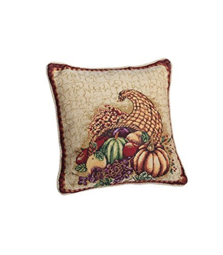 HomeCrate Fall Harvest Collection, Tapestry Cornucopia with Pumpkins and Fruits Design 18