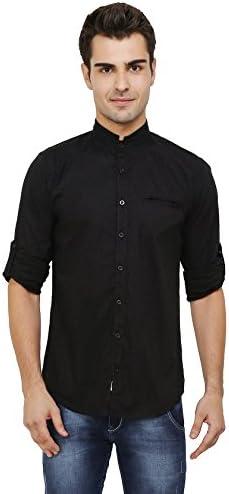 nick&jess - Negro Camisa Casual - Básico - Cuello Mao - Manga Larga - para Hombre: Amazon.es: Ropa y accesorios