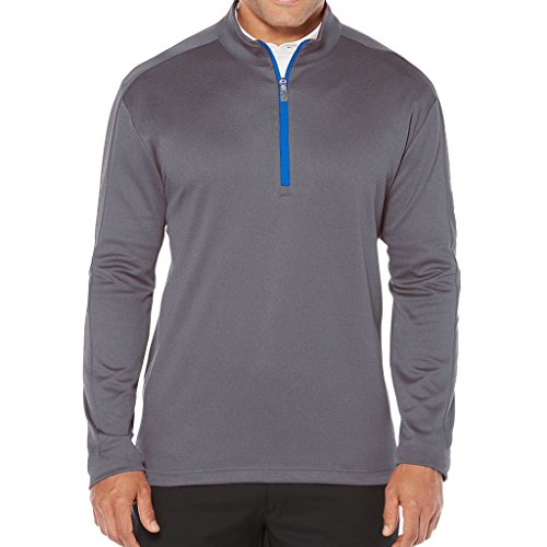 Callaway Men's Opti-Therm Long Sleeve Heather Waffle-Fleeced 1/4 Zip Midlayer Jacket, Large, Castlerock - Castlerock Outlet