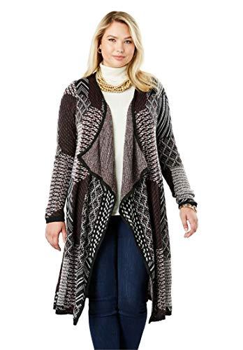 Jessica London Women's Plus Size Jacquard Sweater Duster Multi Patchwork - Patchwork Duster