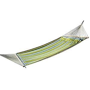 Outsunny Hamaca Colgante de Jardín para 2 Personas Hamaca Ecológico para Camping con Almohada Carga de 210kg Rayas Azules y Verdes 2.1×1.4m