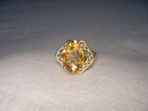 - Beautiful Estate 14K Yellow Gold Citrine Diamond Filigree Ring