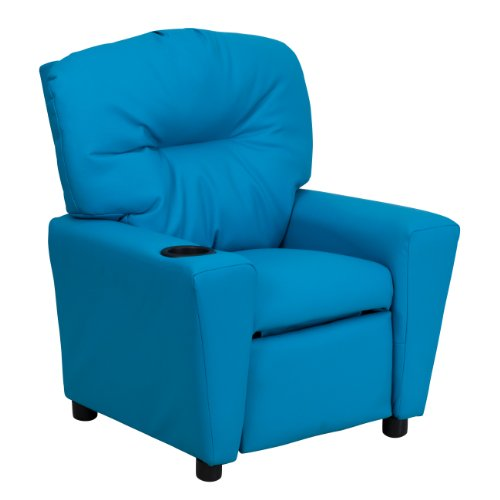 MFO Contemporary Turquoise Vinyl Kids Recliner with Cup Holder