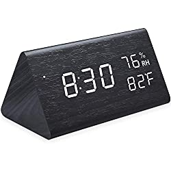Ninonly Wooden Alarm Clock with Sound Touch Command Three Alarms Three Kinds of Brightness Adjustable USB/Battery Powered Digital Alarm Clock Showing Time Date Temperature Humidity for Home Office Kid