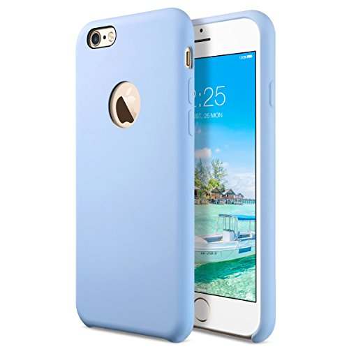 [Amor Series] Liquid Silicone Gel Rubber iPhone 6 6S Shockproof Case with Soft Microfiber Cloth Cushion (4.7 inches) - Light Blue (Light Blue Case)