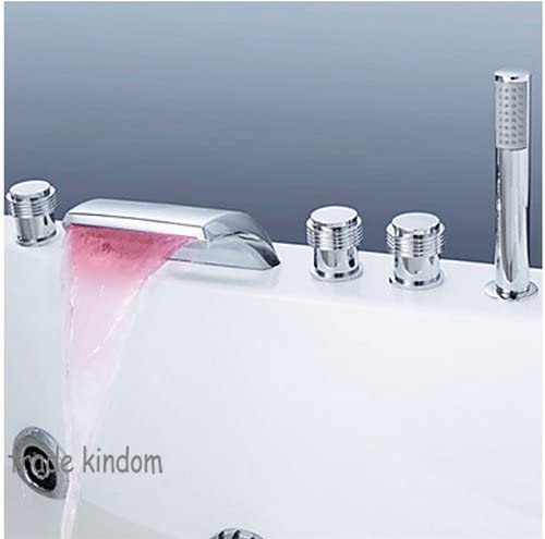 LED 5Pcs Chrome Bathtub Deck Mounted Waterfall Mixer Tap With Shower Faucet Set W02QQ1