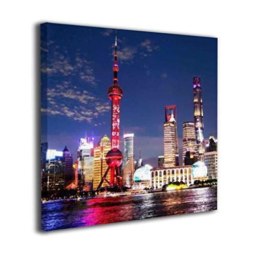 (LxeSer Shanghai High-Rise Building Nice Night Scene In Night Wall Painting Prints Home Decor Modern For Bathroom Kitchen 12